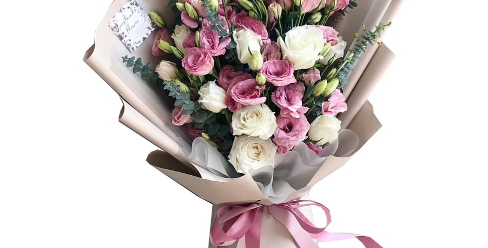 Pink Lisianthus with White Roses & Eucalyptus