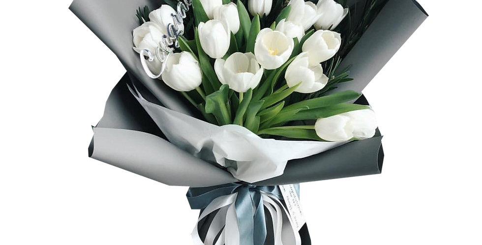 20 White Tulips with Green Leaves