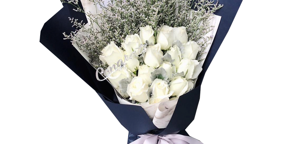 20 White Roses with Snow Leaves and Caspier