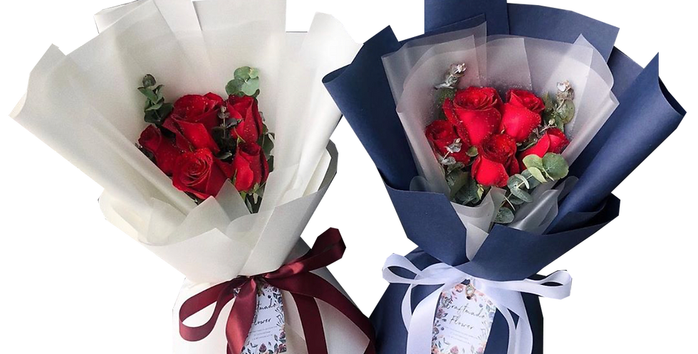 5 Red Roses with Eucalyptus