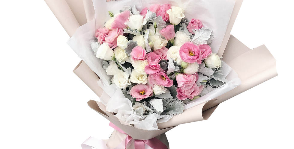 Pink & White Lisianthus with Snow Leaves