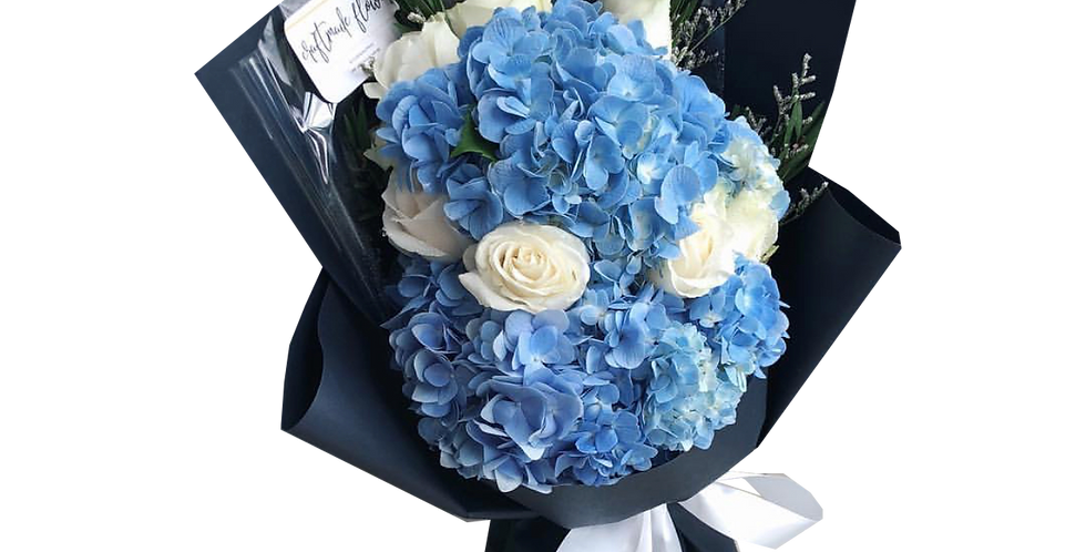 Blue Hydrangeas with White Roses