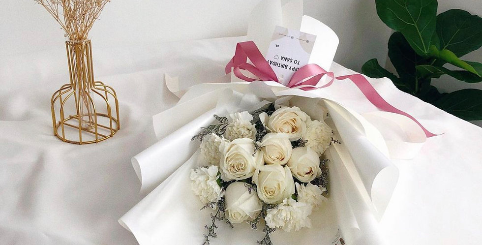 White Roses with White Carnations