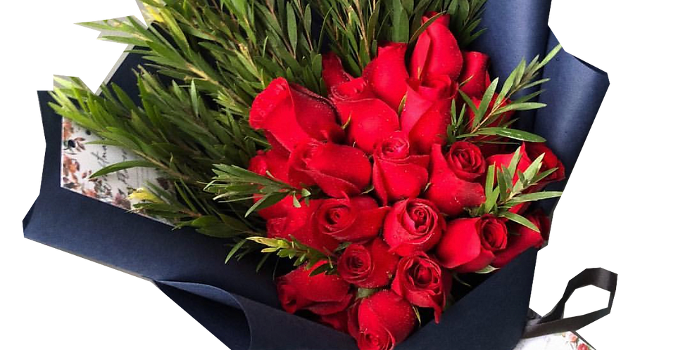 20 Red Roses with Green Leaves