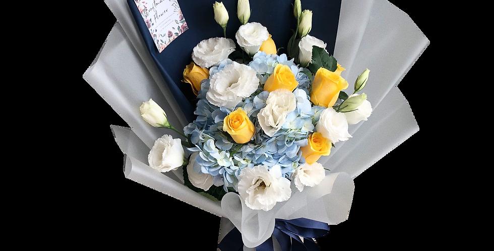Blue Hydrangeas with Yellow Roses & White Lisianthus