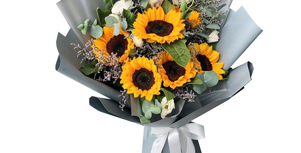 Sunflowers mix with White Lisianthus & Caspier