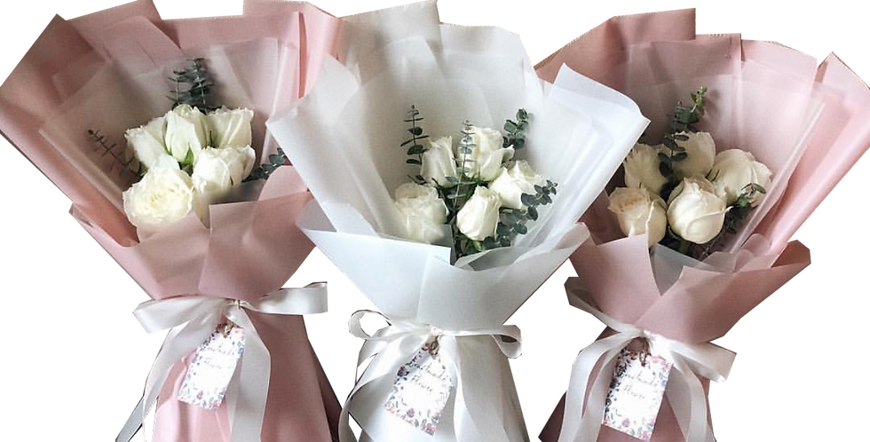 5 White Roses with Eucalyptus