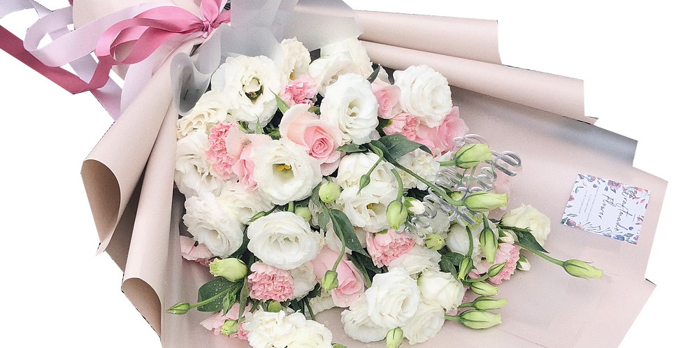 White Lisianthus with Pink Tone Flowers