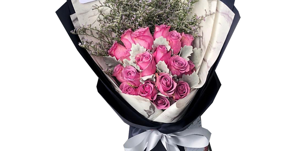 20 Purple Roses with Snow Leaves & Caspier