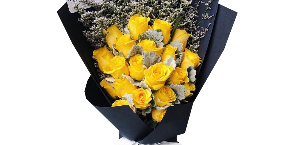 20 Yellow Roses with Snow Leaves & Caspier