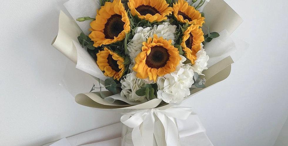 Sunflower with White Hydrangeas
