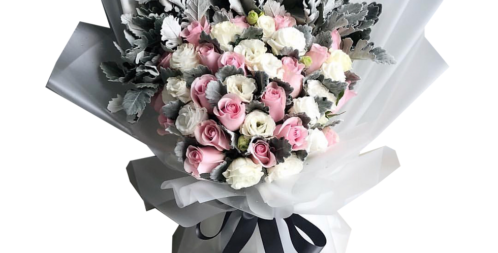 Pink Roses with Lisianthus & Snow Leaves