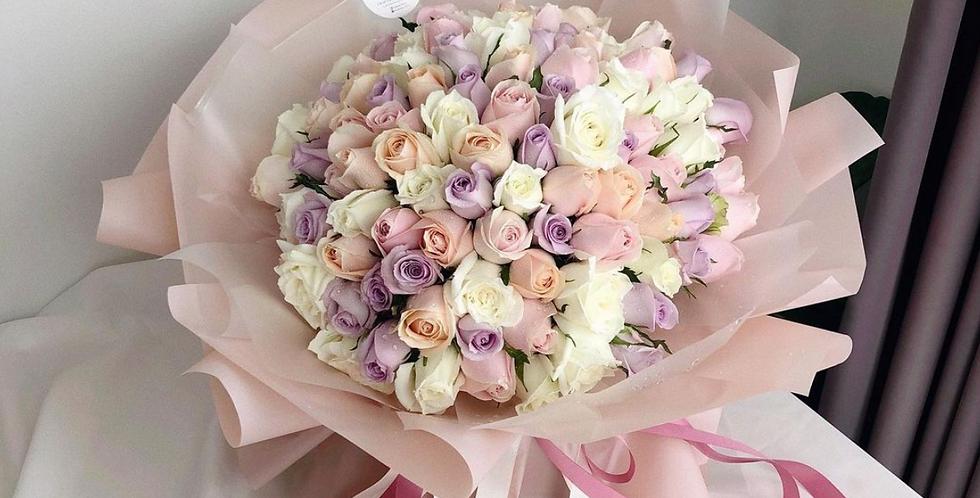 99 Pastel Roses Bouquet