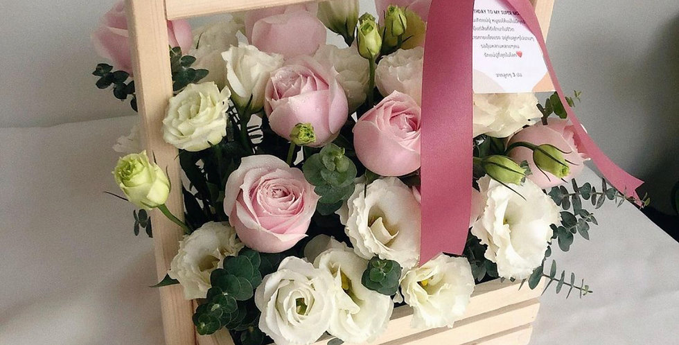 Mixed White & Pink Flower Basket