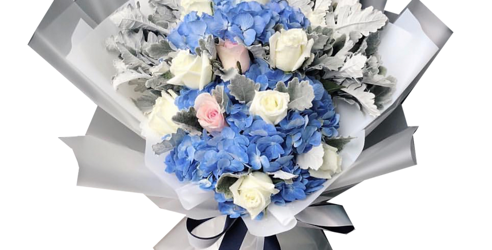 Blue Hydrangeas with White & Pink Roses