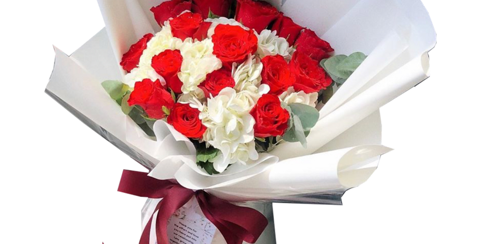 Red Roses and White Hydrangeas