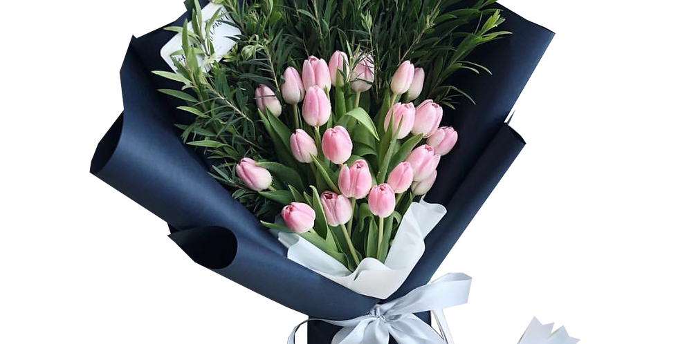 20 Pink Tulips with Green Leaves