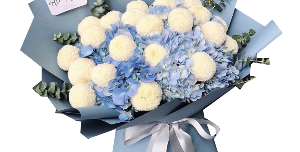 Blue Hydrangeas with White Ping-Pong Flower