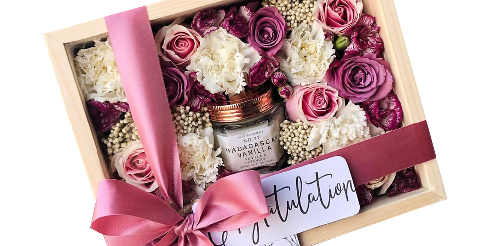 Pink Tone Flower Box with Candle