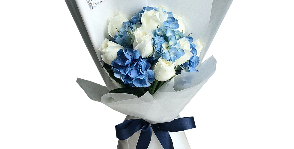 White Roses with Blue Hydrangeas