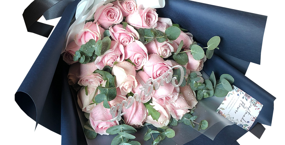 20 Pink Roses with Eucalyptus