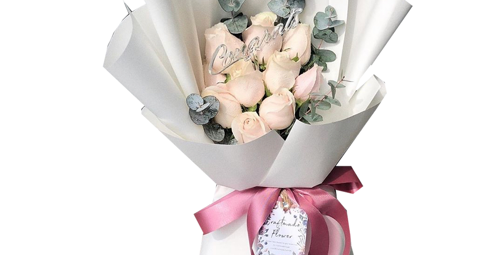 10 Light Pink Roses with Eucalyptus