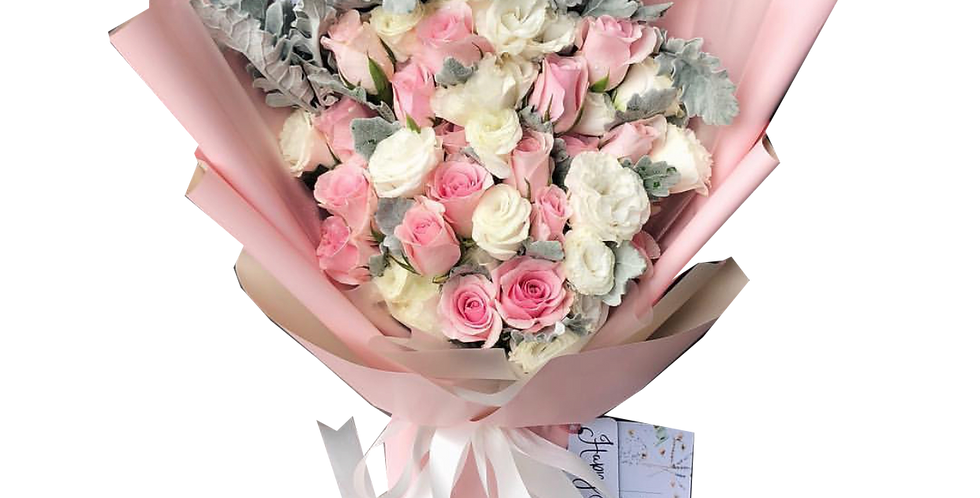 Pink Roses with White Lisianthus & Snow Leaves