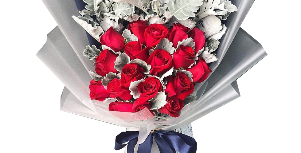 20 Red Roses with Snow Leaves