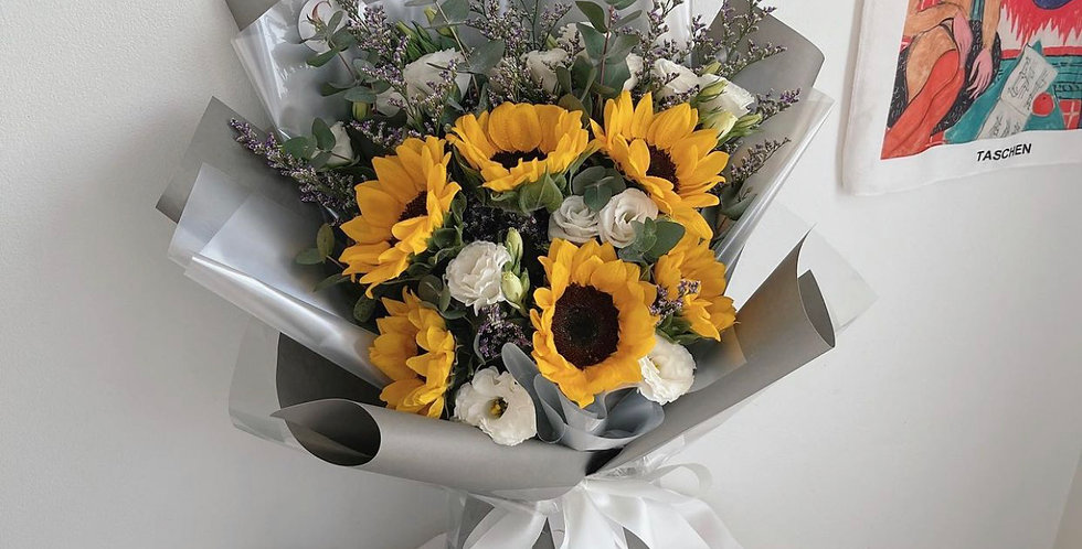 Sunflower with White Lisianthus