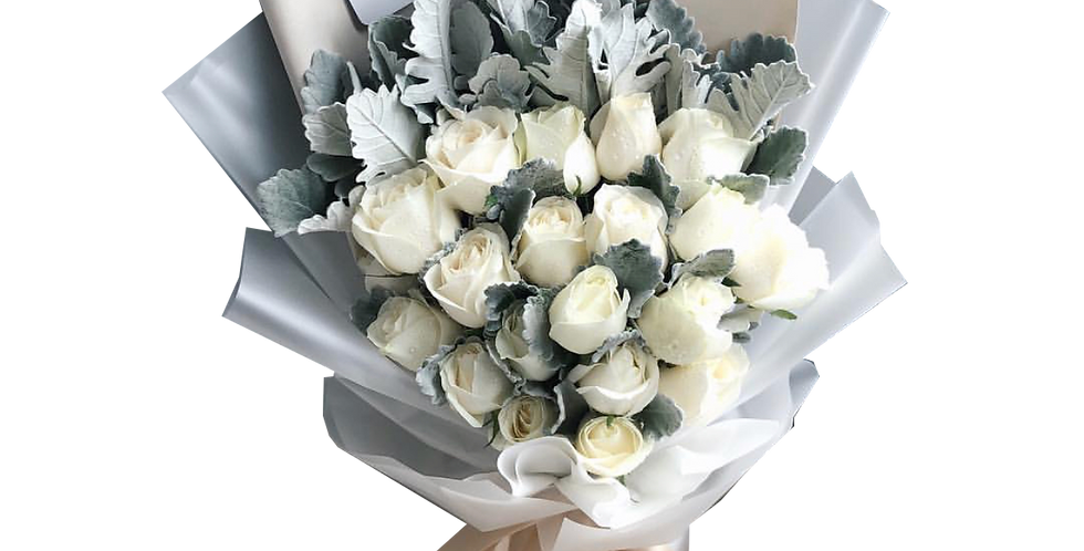 20 White Roses with Snow Leaves