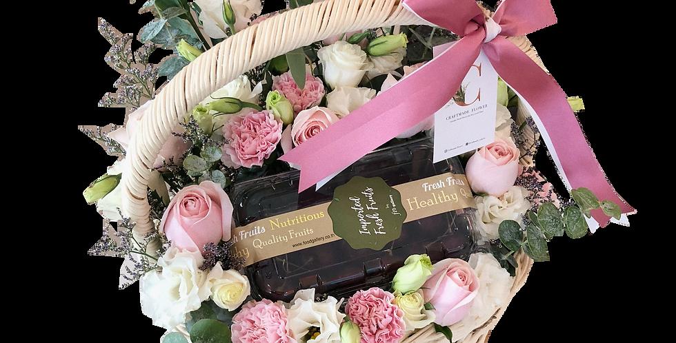 Pink & White Flower Basket