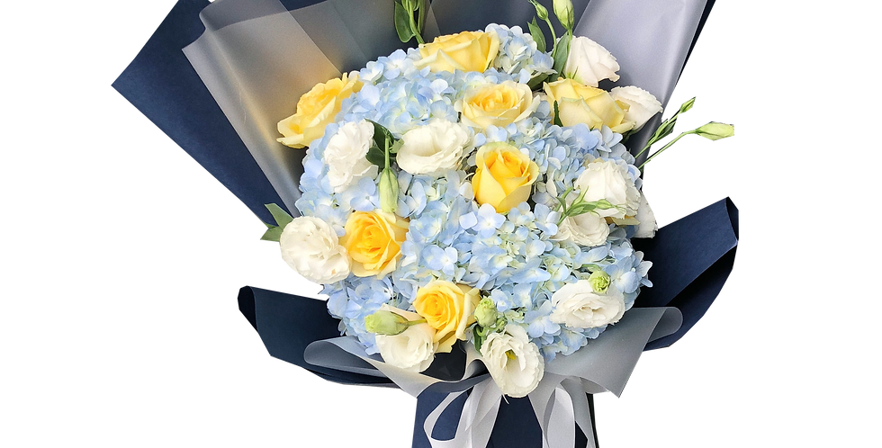 Blue Hydrangeas with Yellow Roses & White Lisianthus