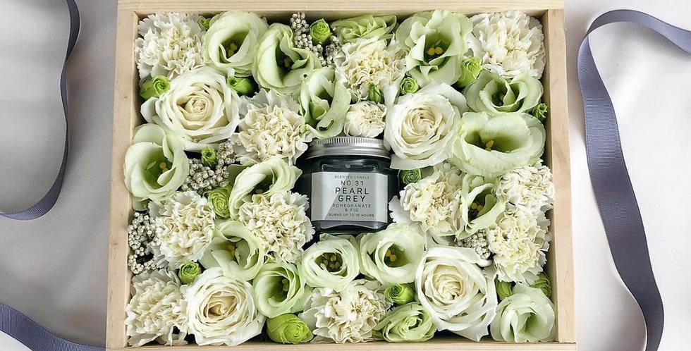White & Green Tone Candle Box