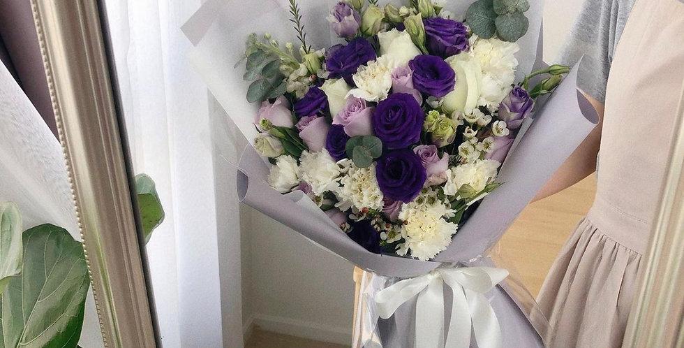 Purple & White Tone Bouquets - Size M-L