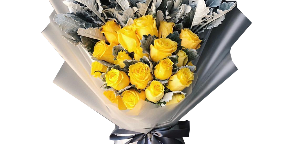 20 Yellow Roses with Snow Leaves