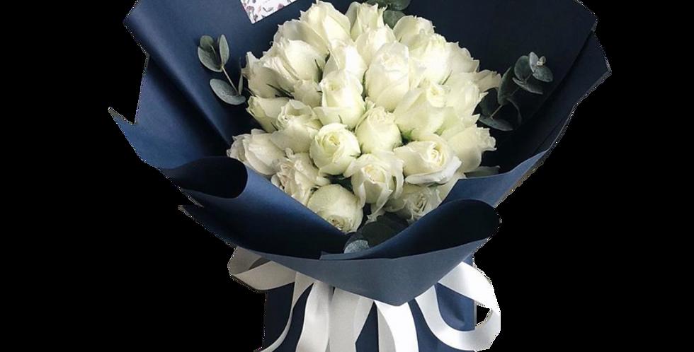 30 White Roses with Eucalyptus