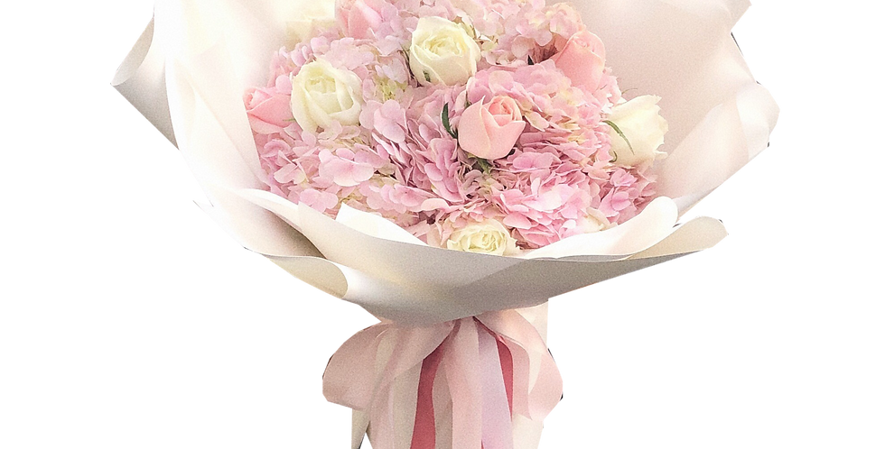 Pink Hydrangeas with White & Pink Roses