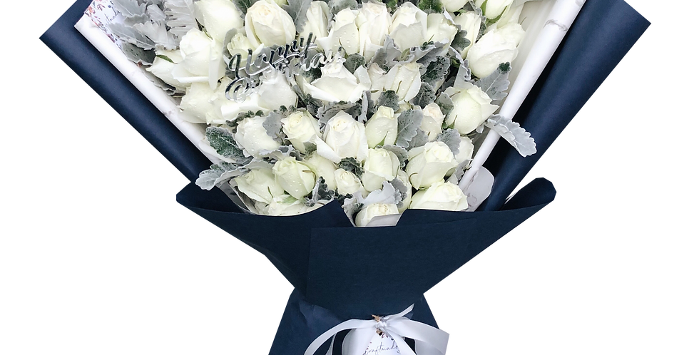40 White Roses with Snow Leaves