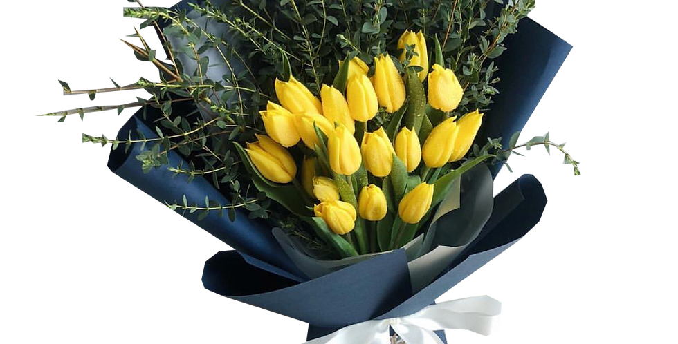 20 Yellow Tulips with Eucalyptus