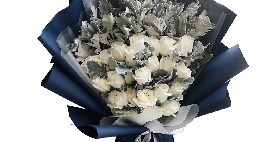 30 White Roses with Snow Leaves