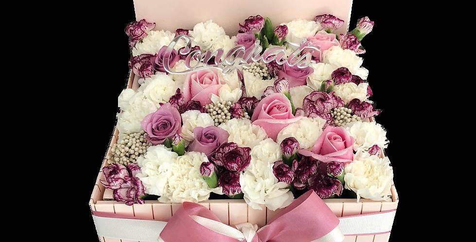 Pink & White Flower Box