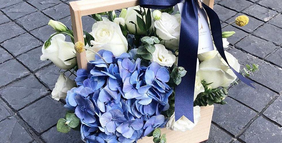 Blue Hydrangeas with White Roses & Lisianthus Flower Basket