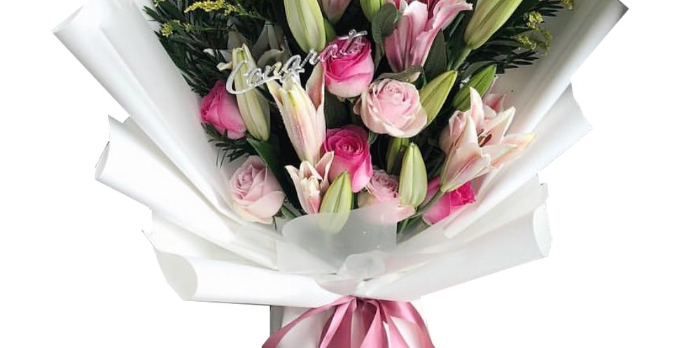 Pink Lilies with Pink Tone Roses