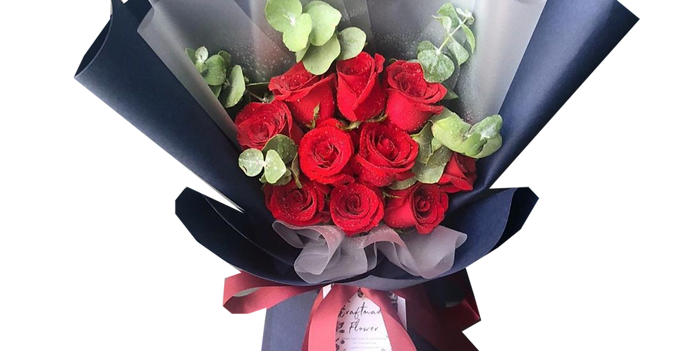 10 Red Roses with Eucalyptus