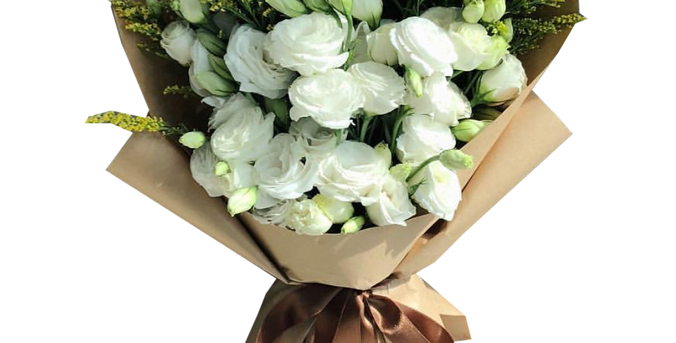 White Lisianthus with Green Leaves