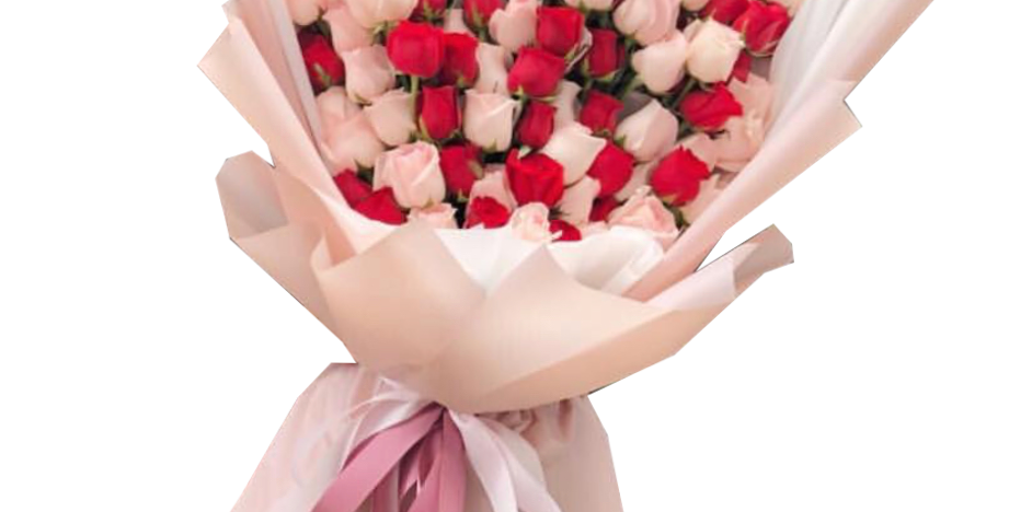 108 Pink and Red Roses