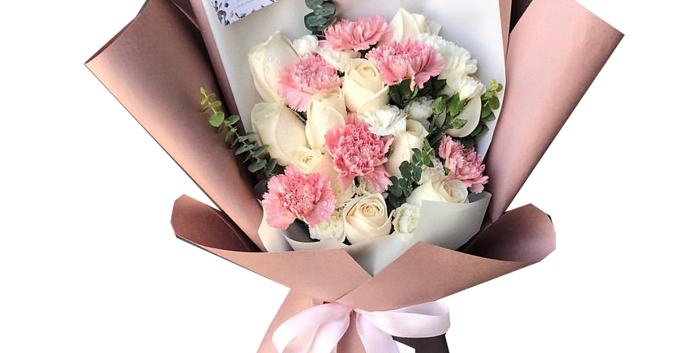 A Mix of Pink & White Tone Flowers