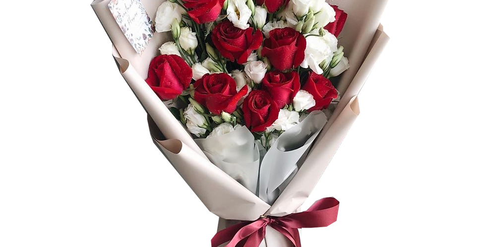 White Lisianthus with Red Roses