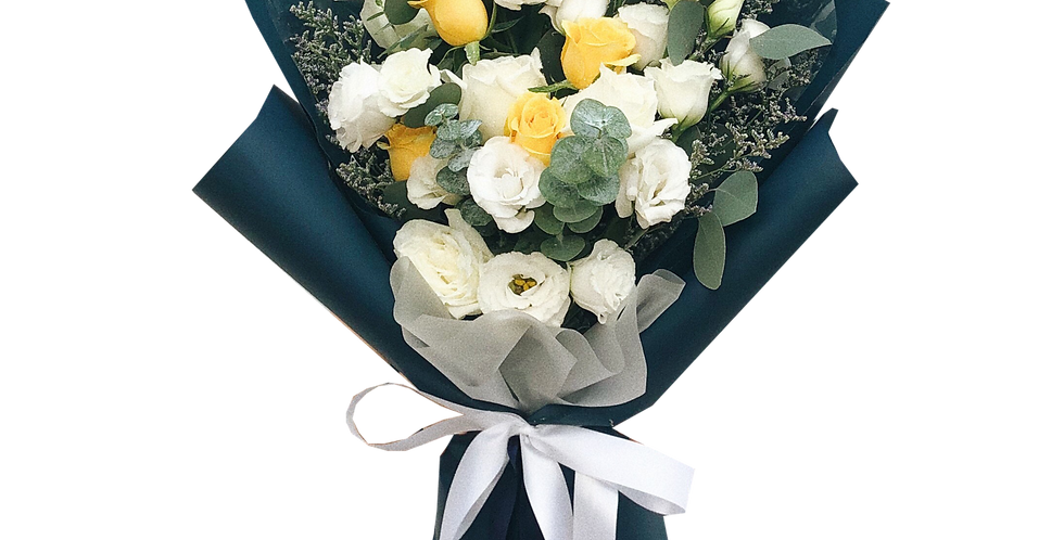 Yellow Roses with White Lisianthus