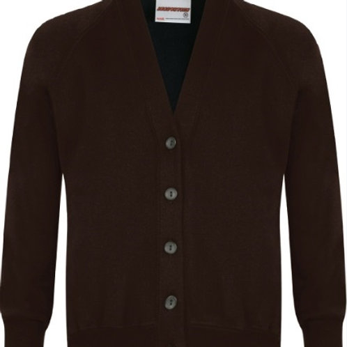 Cardigan - Brown with Embroidered Logo